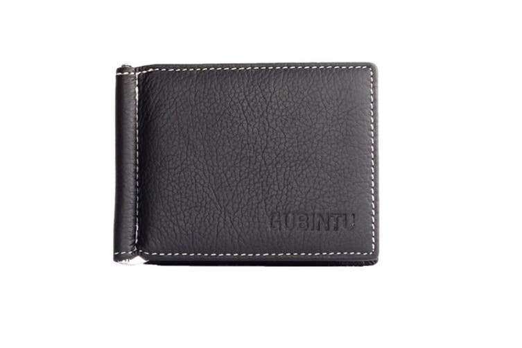 slim leather billfold multifunction wallet Man Money Clip Black