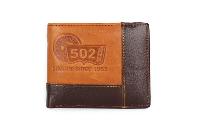 Mens Genuine Leather Patchwork Trifold Wallet 502