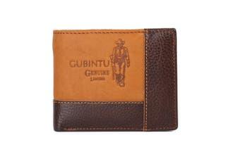 Mens Genuine Leather Patchwork Trifold Wallet Men