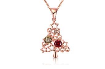 Rose Gold zircon Christmas tree necklace WhiteGold