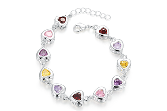 Shiny Multicolored CZ Zircon Crystal Heart Shaped Charm  Bracelet Y000038