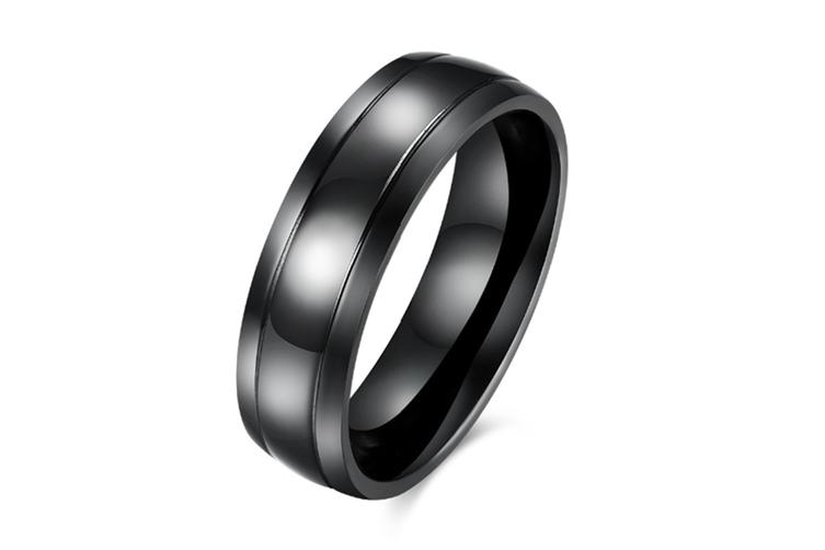 Men Classic 6mm  Black Band titanium steel  Polished ring 8