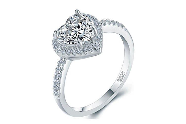 Heart Shape Bridal Wedding Engagement Promise Anniversary Ring 5