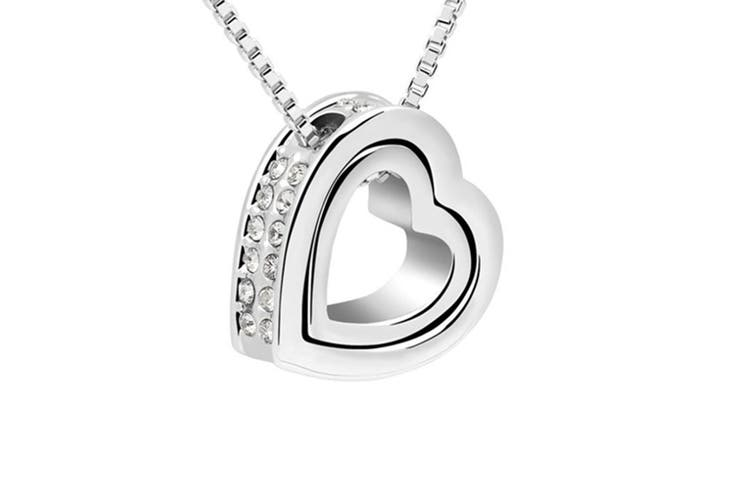 Double Heart Pendant Necklace With Austrian crystal Silver