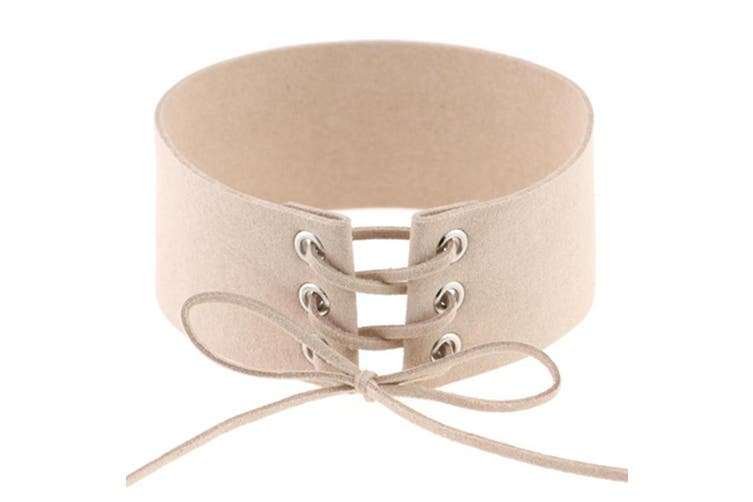 Tie Up Lace Up Choker Harajuku Velvet Belt Collar Necklace Khaki