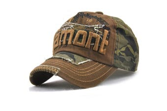 Camo Distressed Baseball Cap Embroidery Curved Bill Dad Hat Cotton Strapback Coffee