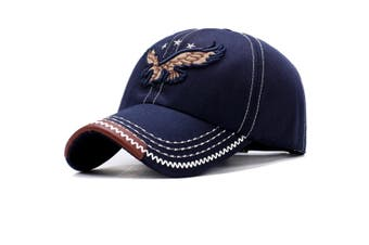 Eagle Embroidery Baseball Cap Embroidery Curved Bill Dad Hat Cotton Strapback Navy