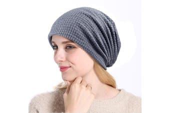 Winter Beanie Skull Hat Baggy Wool Knit Hat Thick Warm Ski Cap Gray