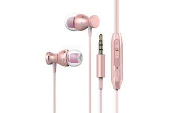 Wired In-ear magnet Control Cable Clip Stereo Earbuds headset headphones Pink