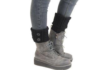 Boot Cuffs Leg Warmers Winter Short Liner Toppers Knit Women Crochet Knitted Black