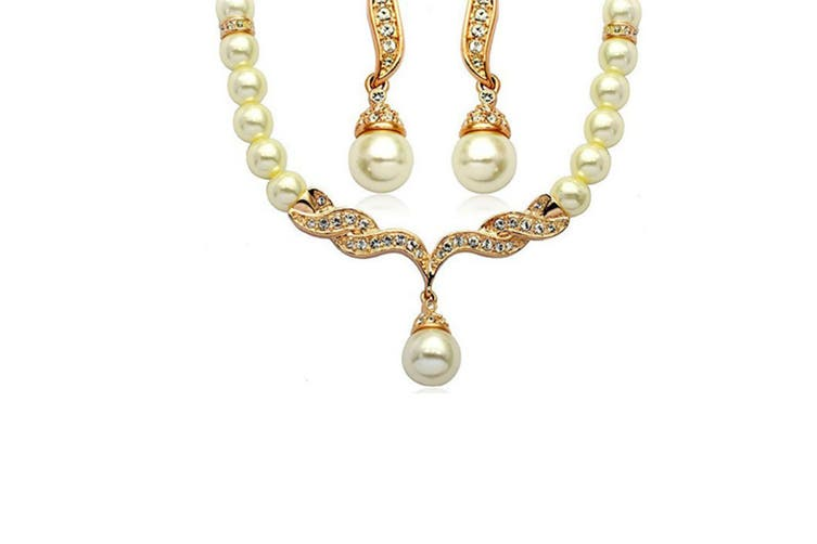 Sweet Crystal Simulate Pearl Bridal Jewelry Set Gold