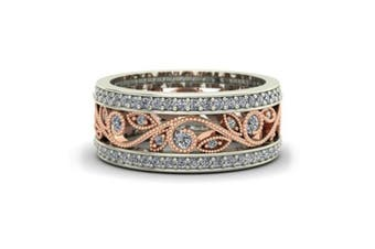 Rose Gold Crystal Ring Women Wedding Party Band Rings Plated Zircon Y000206