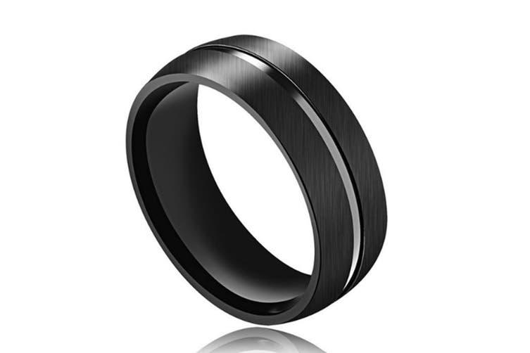 8mm Creative Black Titanium Steel Mens Fashion Wedding Band Ring 11