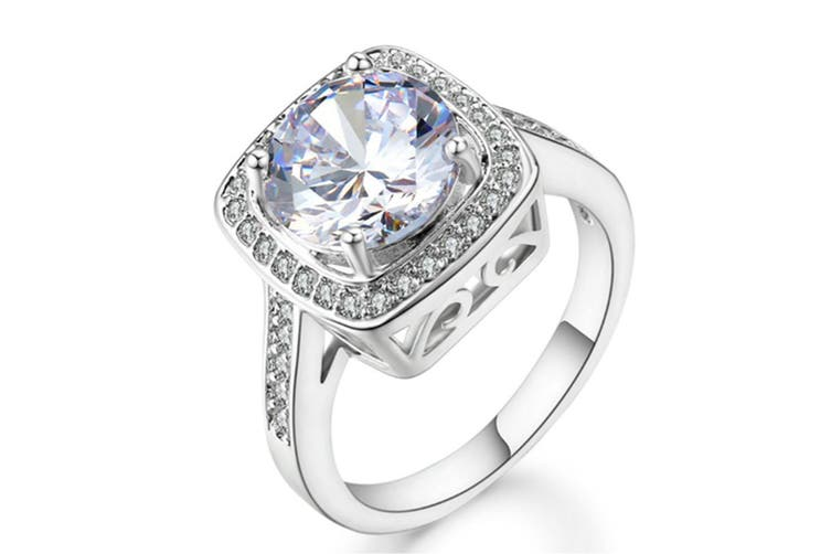 Shinning Cubic Zirconia Topaz Rings For Women 18K Rose Gold Plated 6