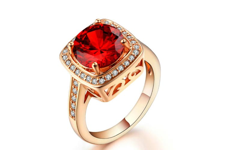 Shinning Cubic Zirconia Topaz Rings For Women 18K Rose Gold Plated 8