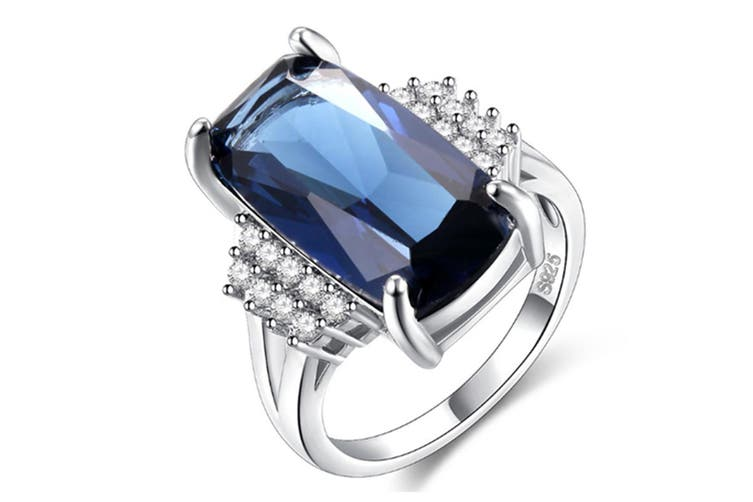 Square Cut Navy Blue Rings Crystal Rings For Women Cubic Zirconia Wedding Ring 7
