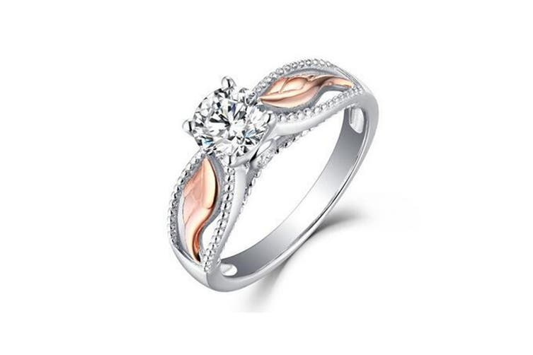 """Angel Wings"" Round Cut White Sapphire Rose Gold Sterling Silver Womens Engagement Ring 7"