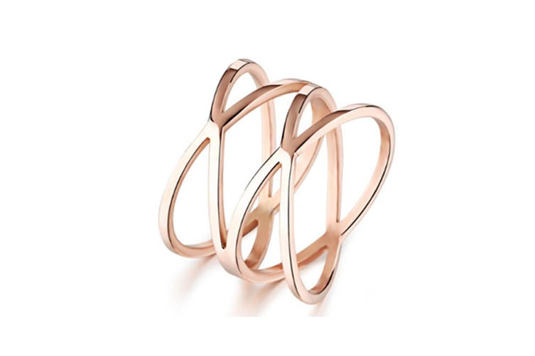 """Rose Gold """"X"""" Criss Cross Long 14mm Woman Party Rings Band Y000230"""
