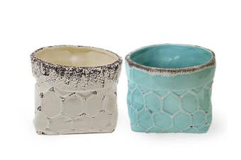 Set/2 Blue/white pot