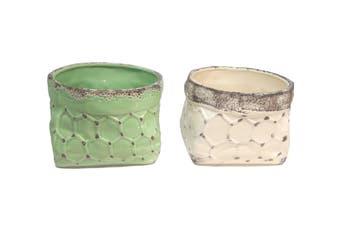 Set/2 Green/cream pot