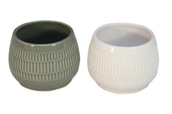 S/2 pot plant holders - Grey & White