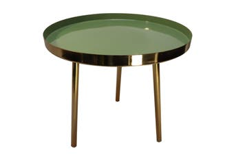 Brass table with green enamel lining