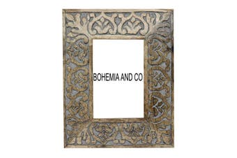 Grey carved wood frame
