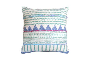 A beautifully woven blue and white cushion cover
