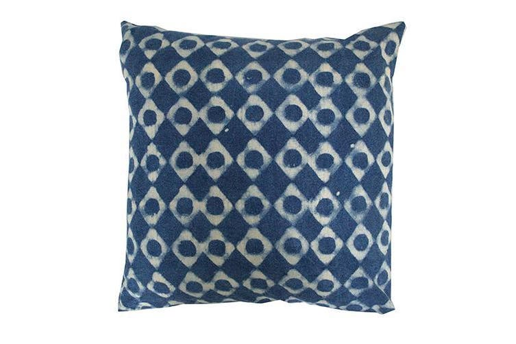 Blue and White Circle Cushion Cover