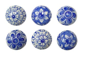 Blue and White Door Knobs