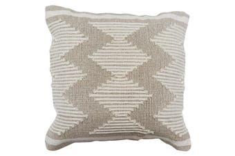 Grey cushion cover with cream embroidered design