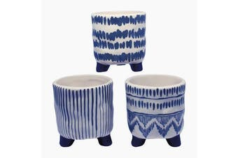 S/3 blue/white Plant pot holders