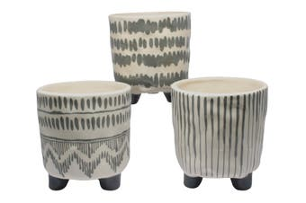 S/3 Grey/white pot plant holders