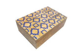 Beige/Blue Diamond Design Box