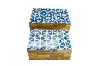 S/2 wood boxes with samosa design blue white bone lid