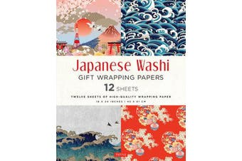 Japanese Washi Gift Wrapping Papers 12 Sheets - High-Quality 18 x 24 inch (45 x 61 cm) Wrapping Paper