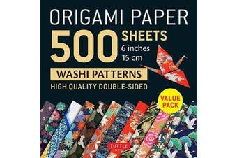 """Origami Paper 500 sheets Japanese Washi Patterns 6"""" (15 cm) - High-Quality, Double-Sided Origami Sheets  with 12 Different Designs (Instructions for 6 Projects Included)"""