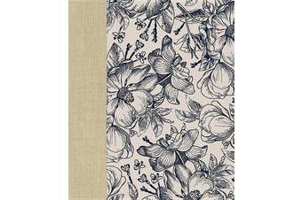 Ceb Wide-Margin Navy Floral Bible - For Journaling and Note-Taking