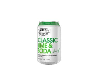 Smirnoff Pure Lime & Soda 330ml Cans 330mL Case of 24