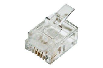 CABAC Modular Plug RJ11  4P4C Round Stranded 100Pk ACA approved