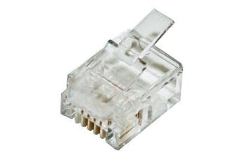 CABAC Modular Plug RJ12 - 6P4C Flat Stranded 100Pk ACA approved 0664FST-C