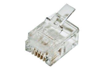 CABAC Modular Plug RJ12 -6P4C Flat Stranded 10Pk ACA approved
