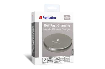 Verbatim Metallic Wireless Charger Gray Fast Charging Anti-Slip Silicone Base