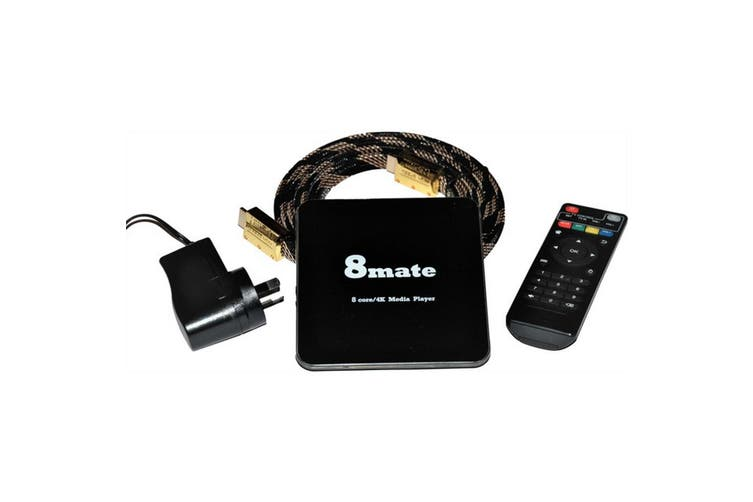 8mate 8 Core 4K Ultra Fast UHD Media Player Air Remote & HDMI Cable