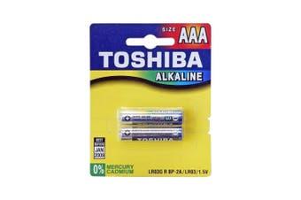 2 Pack AAA  Alkaline Battery Toshiba