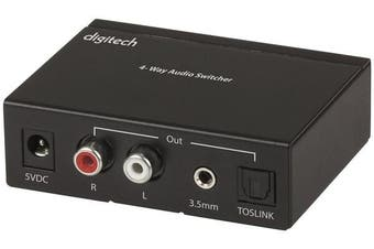 DIGITECH 4-Way Digital Audio Switcher with digital analog converter Headphone Output