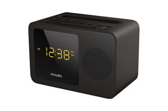 Philips Black Clock Radio with Bluetooth and USB Charger