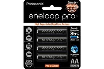 4Pk AA Eneloop Pro Batteries 2550Mah