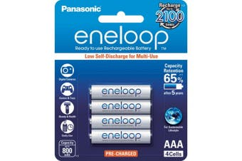 Panasonic 4 Pack AAA Eneloop Batteries Rechargeable LSD
