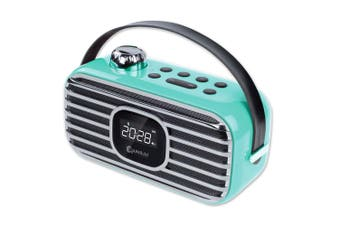 Sansai Classical Bluetooth Speaker-Blue FM Radio LED Alarm Clock